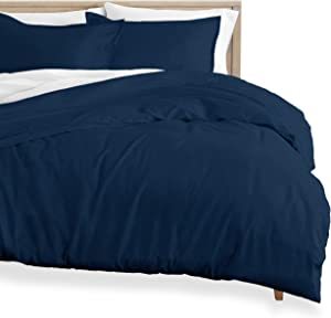 Bare Home Flannel Duvet Cover and Sham Set - King/California King - 100% Cotton, Velvety Soft Heavyweight, Double Brushed Flannel (King/Cal King, Dark Blue)