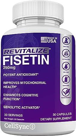 Revitalize Fisetin 250mg Supplement (Similar to Apigenin, Luteolin, Quercetin) Senolytic & Sirtuin Activator - Anti-Aging & Anti-Inflammatory - Brain Health, Energy Support, Therapeutic Effect – 30CT