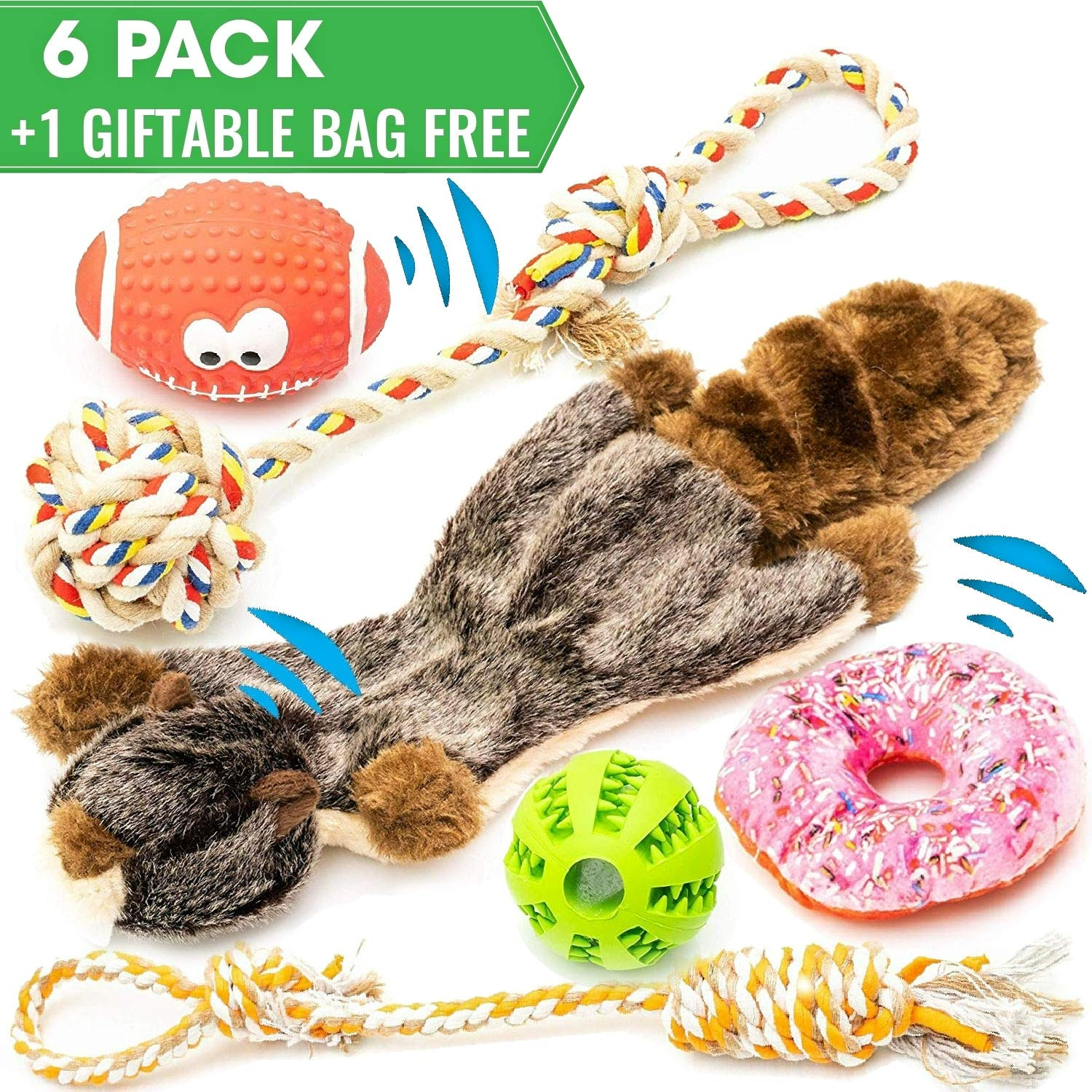 JuJuNe pets, Small and Medium Dog Toys Set 6 Pack, Rubber Ball, Nontoxic Latex Rugby Dog Toy, Durable & Natural Cotton Tug Ropes, Plush Squeaky Donut, Plush Marmot Squeak Chew Toy, Dogs Toys by JuJuNe pets