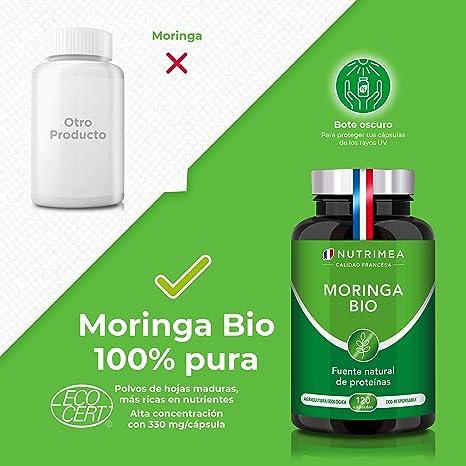 Moringa Oleifera Bio 120 Cápsulas | Superfood Antioxidante Natural Sistema Inmunológico Energía Proteina Vegetal | 330 mg Polvo Moringa con 66 mg de ...