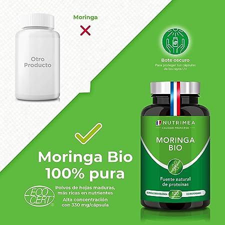 Moringa Oleifera Bio 120 Cápsulas   Superfood Antioxidante Natural Sistema Inmunológico Energía Proteina Vegetal   330 mg Polvo Moringa con 66 mg de ...