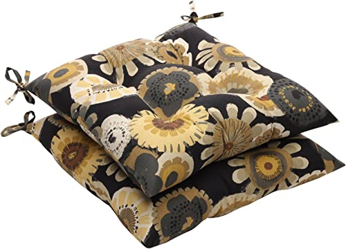 Pillow Perfect Outdoor/Indoor Crosby Ebony Tufted Seat Cushions Square Back