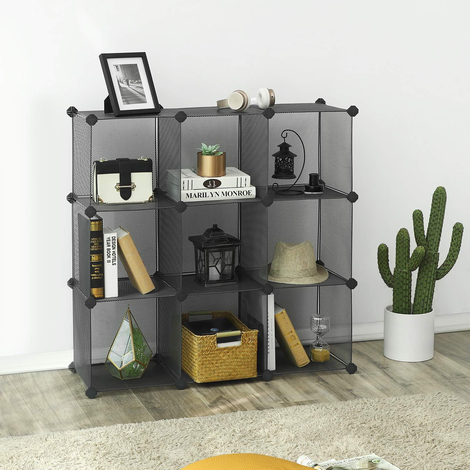 SONGMICS 9-Cube Metal Mesh Storage Cube, Book Shelf, Modular Bookcase, DIY Closet Cabinet Organizer for Books, Plants, Toys, Shoes, Clothes 36.6''L x 12.2''W x 48.4''H, Gray ULPL115G by SONGMICS (Image #2)