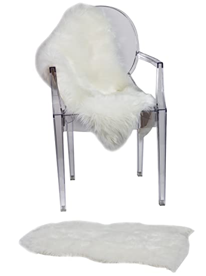 Ruglush Super Soft Sheepskin Chair Cover Seat Cushion Pad Excellent Quality Faux Fur Rug Modern Stylish Design Used As An Area Rug Or
