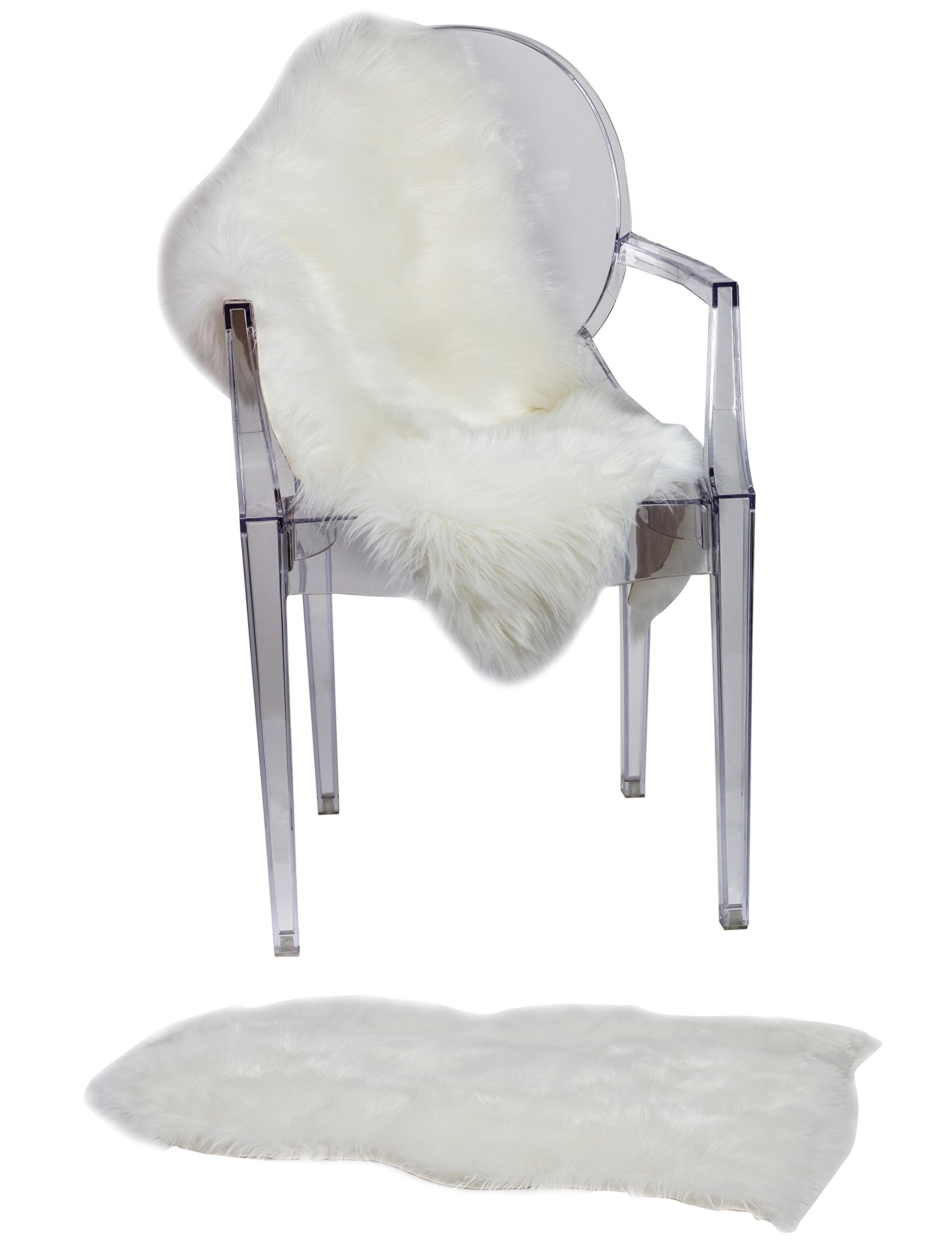 RUGLUSH Super Soft Sheepskin Chair Cover Seat Cushion Pad– Excellent Quality Faux Fur Rug – Modern, Stylish Design – Used As An Area Rug Or Across Your Armchair – Back Lining Suede Fabric 2ft x 3ft