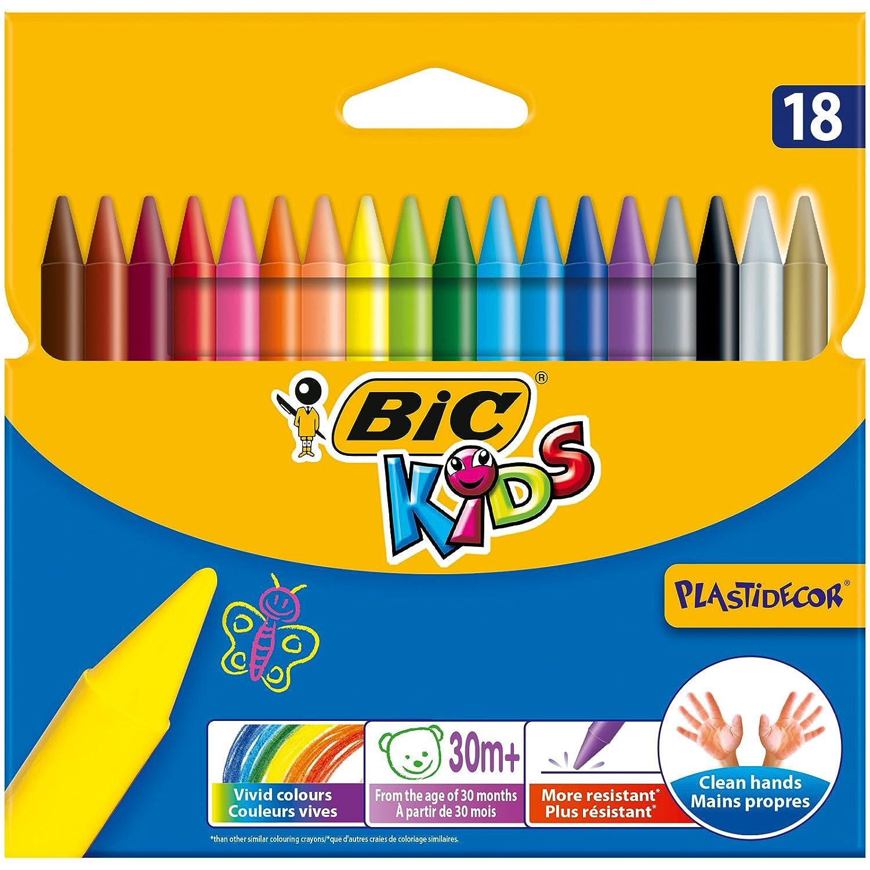 Bic Kids Plastidecor Coloración Crayons (Paquete de 18) 829771