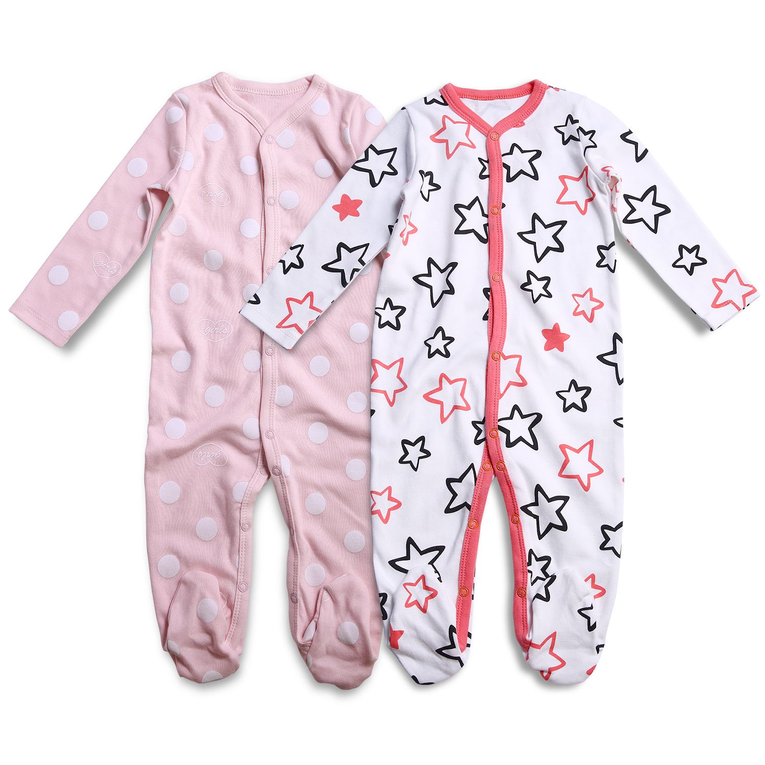OPAWO Baby Girls 2-Pack Footed Sleeper Pajamas Long Sleeved 6-9 Months White Polka/Stars) OPYJ8845OCPG0129