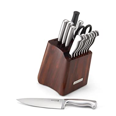 Sabatier 16-Piece Stainless Steel Hallow Handle Knife Set with Acacia Storage Block