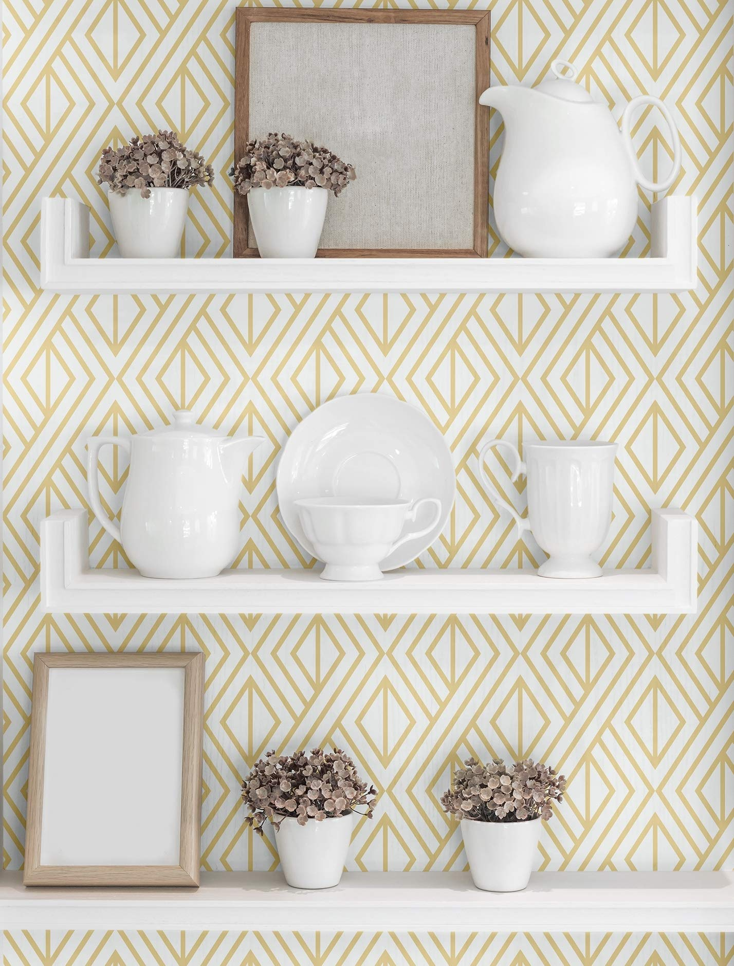 NextWall Diamond Geometric Peel and Stick Wallpaper Decor (Gold and White)