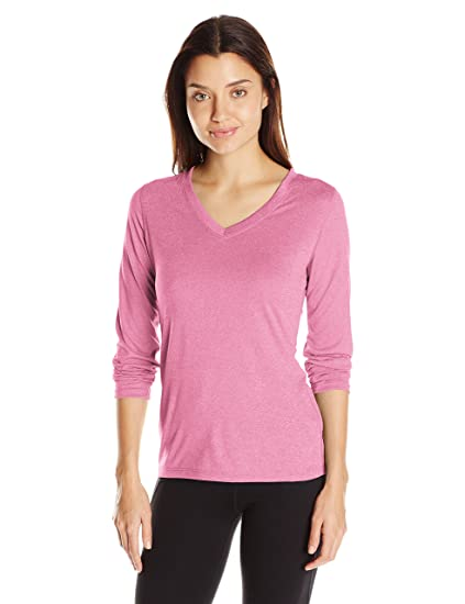 606fb9e3 Hanes Women's Sport Cool Dri Performance Long Sleeve V-Neck Tee, Amaranth  Heather,