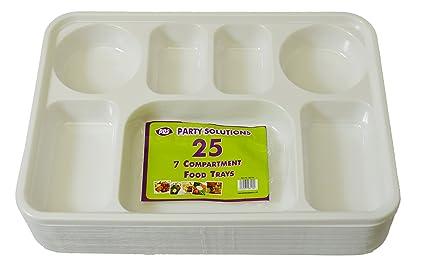 Party & Paper Solutions 25 bandejas de plástico para Compartimento/sección, 7 Secciones,