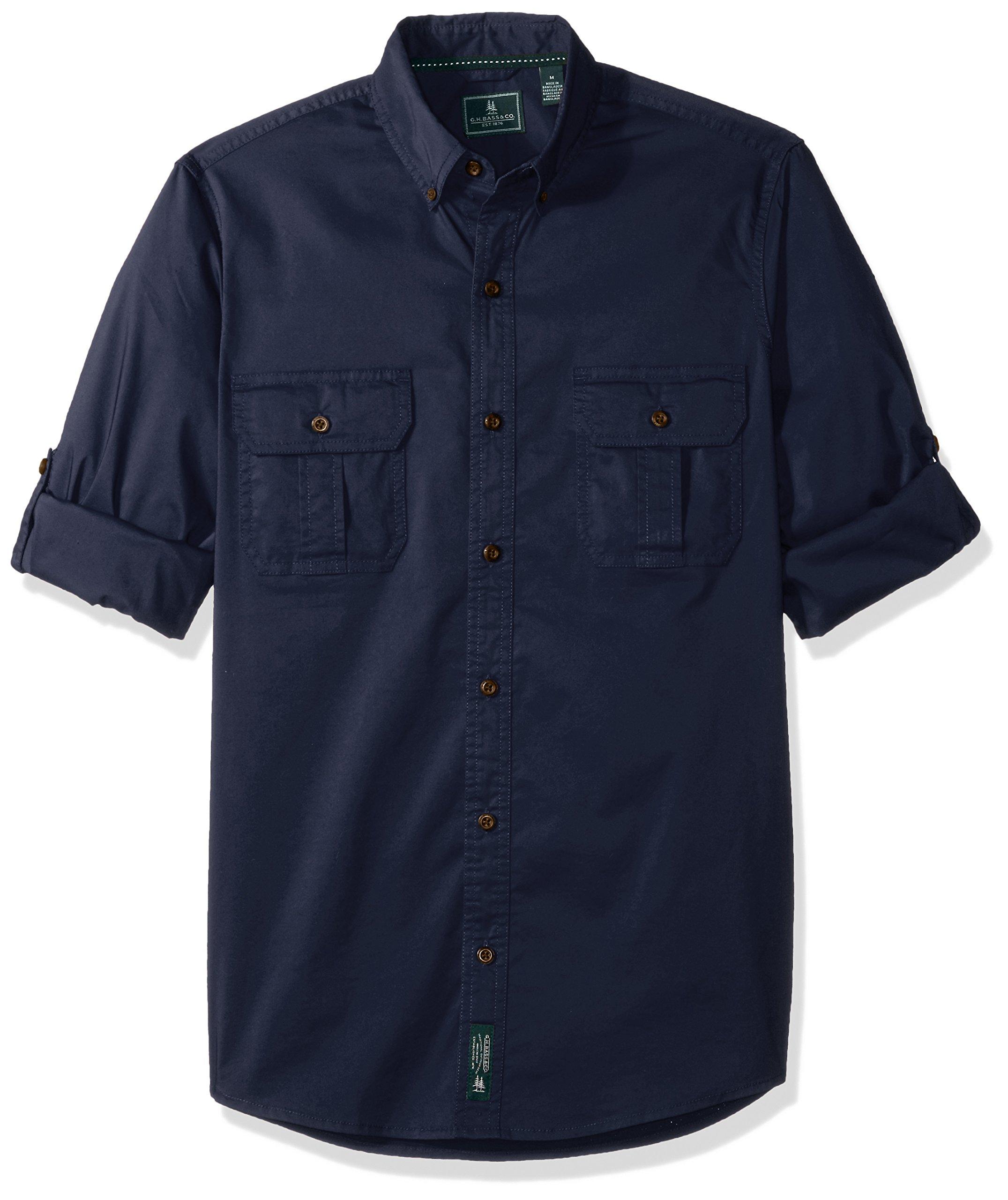 G.H. Bass & Co. Men's Madawaska Trail Long Sleeve Shirt, Navy Blazer, X-Large