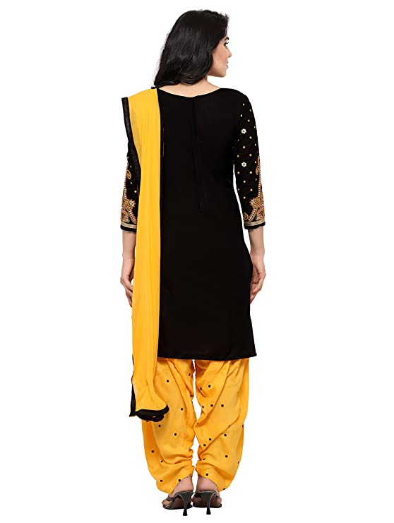 24f80f6994 Kvsfab Women's Cotton Salwar Suit (KVSSK7052PA_41_Free Size_Black & Yellow):  Amazon.in: Clothing & Accessories
