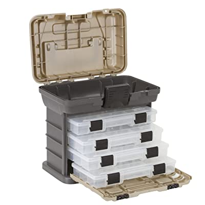 Plano Molding 135430 Stow N' Go Pro Rack with 4 #23500s Prolatch Organizers, Graphite Gray, Sandstone - Toolboxes - .com