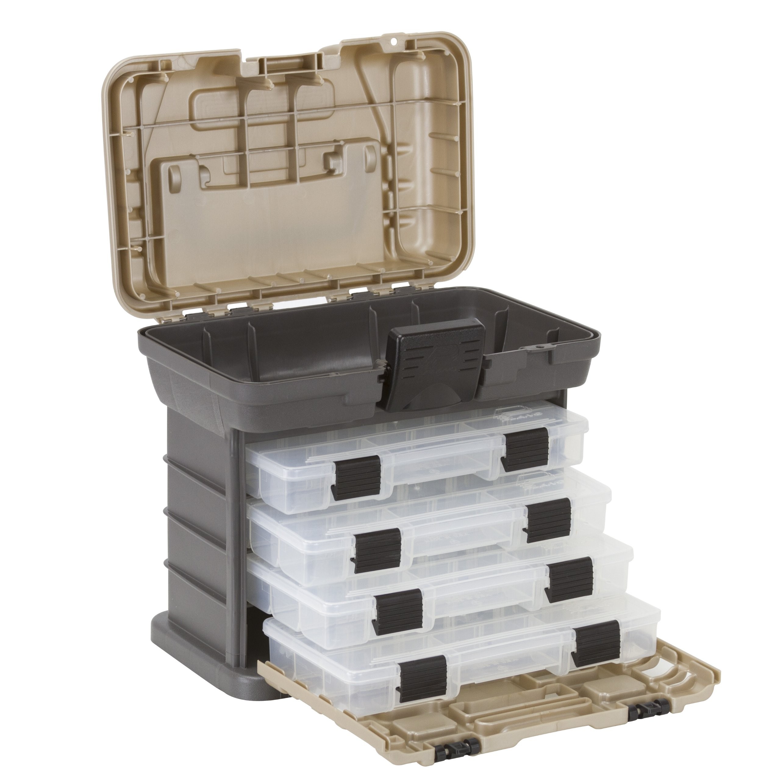 Plano Molding 1354 Stow N Go Tool Box with 4 23500 Series StowAways, Graphite Gray and Sandstone by Plano Molding