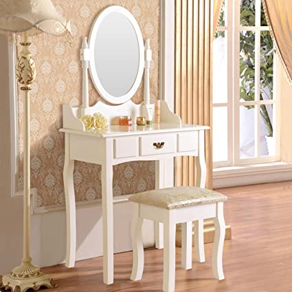 DFM Dressing Table Makeup Desk W/Stool Drawers U0026 Oval Mirror Bedroom White