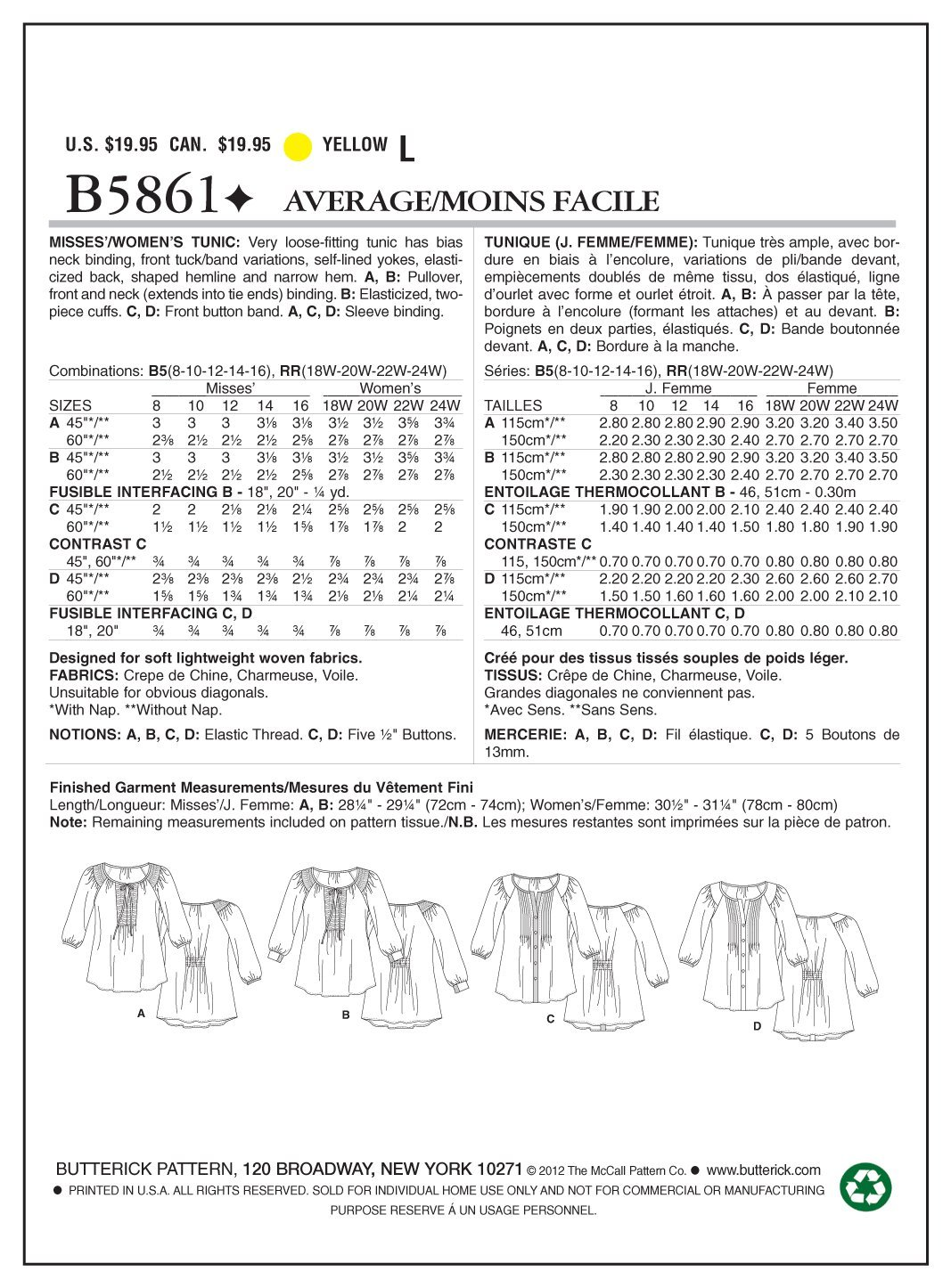 White Pack of 1 Butterick Patterns B5861 Size RR 18W-20W-22W-24W Misses// Womens Tunic