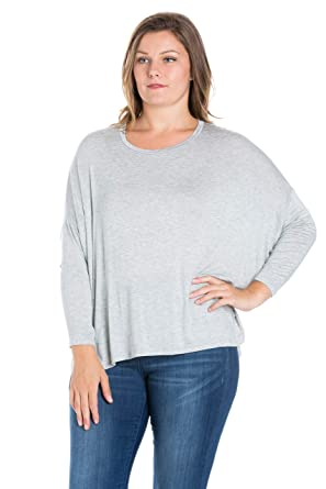 fb5c35ad1291cb 24seven Comfort Apparel Women's Plus Size Oversized Long Dolman Sleeve Shirt  Top Pullover - Made in USA - (Sizes 1XL-3XL) at Amazon Women's Clothing  store: