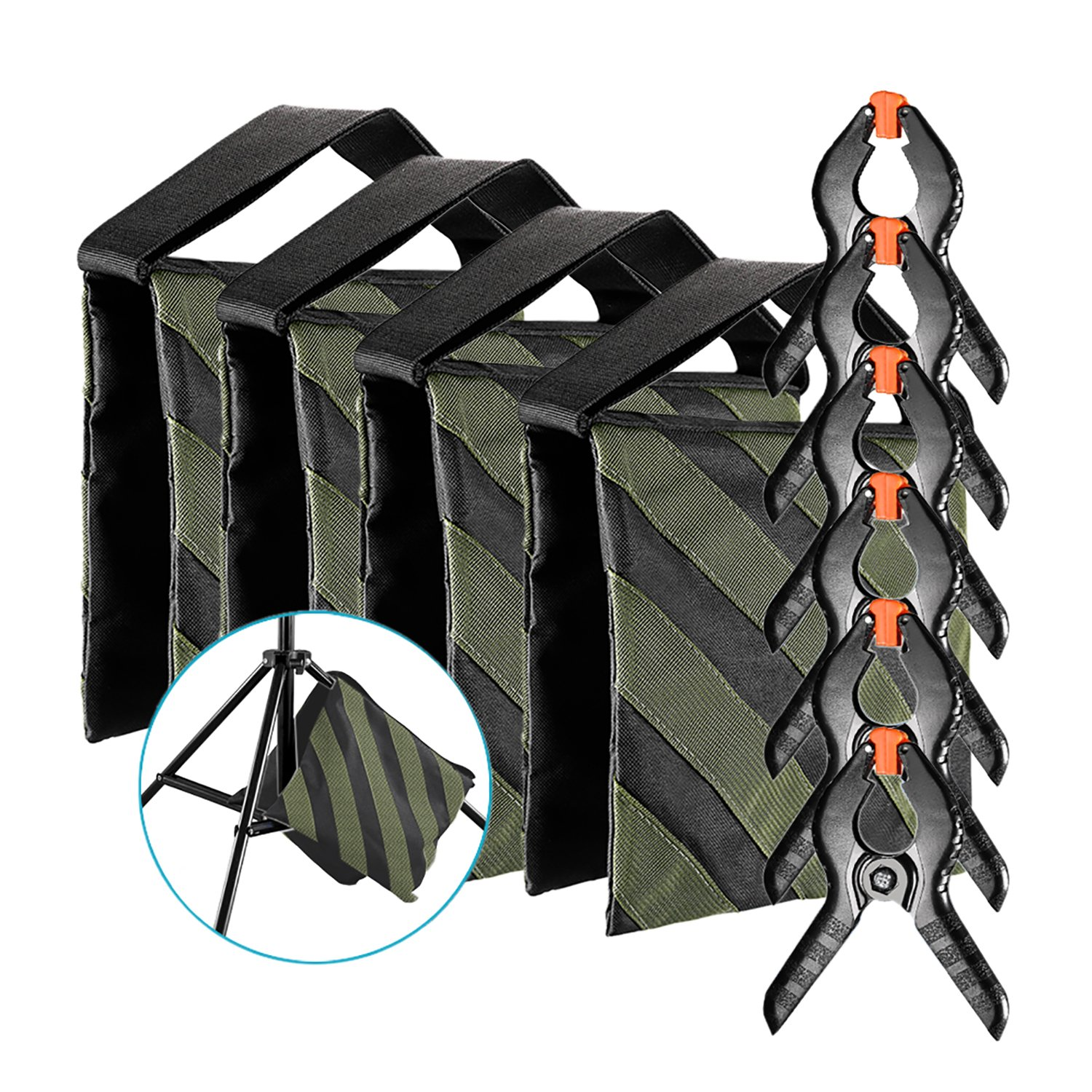 Neewer 4-pack Photography Sandbag (Black/Army Green, Empty) and 6-pack 4.3 inches/11 centimeters Muslin Backdrop Spring Clamps Clips for Light Stands, Tripods and Other Lighting Accessories 90092798