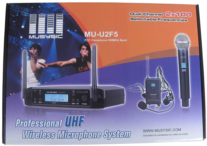 Amazon com: MUSYSIC MU-U2F5-HH Dual (2x100 freq) Channels UHF