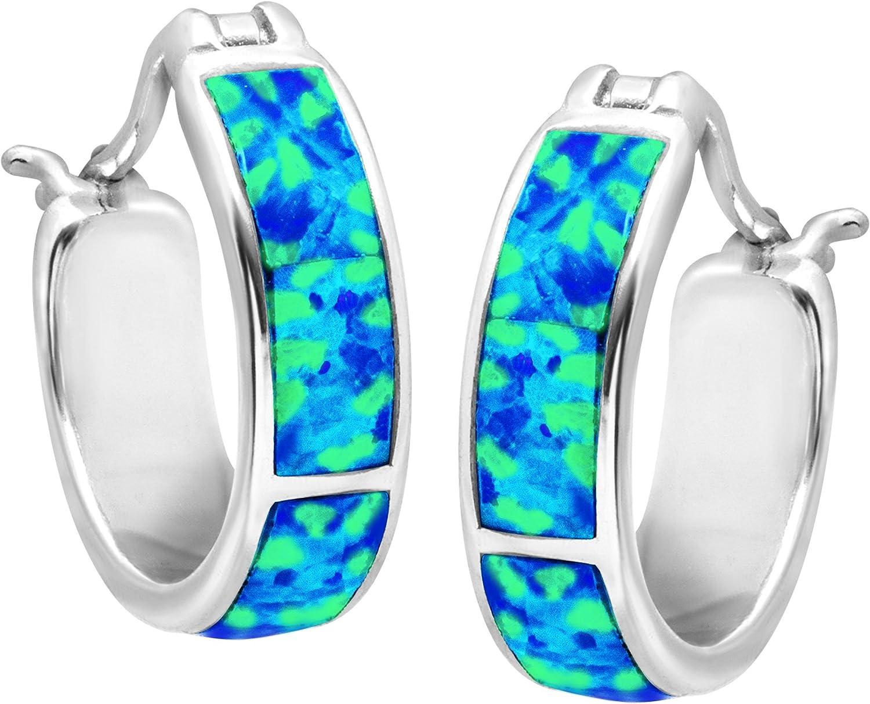Ocean Blue Fire Opal Inlay Silver Jewellery Snap Closure Hoop Earrings