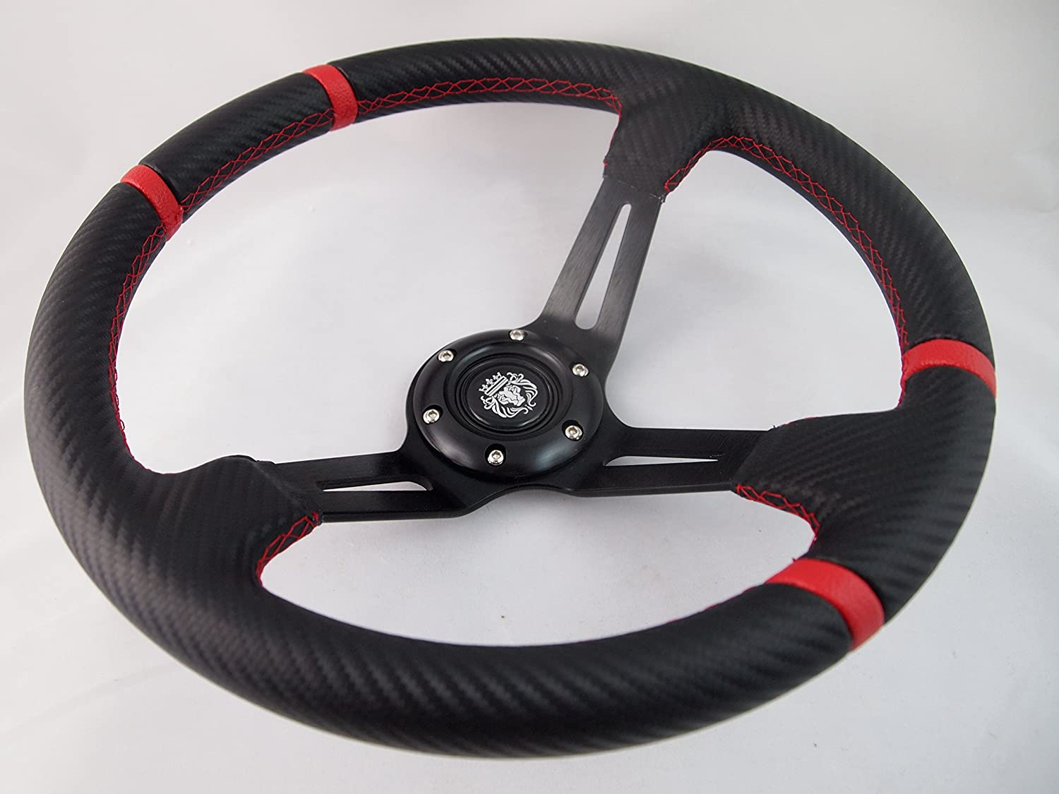 Red Black Steering Wheel with Adapter for RZR 570 800 900 1000