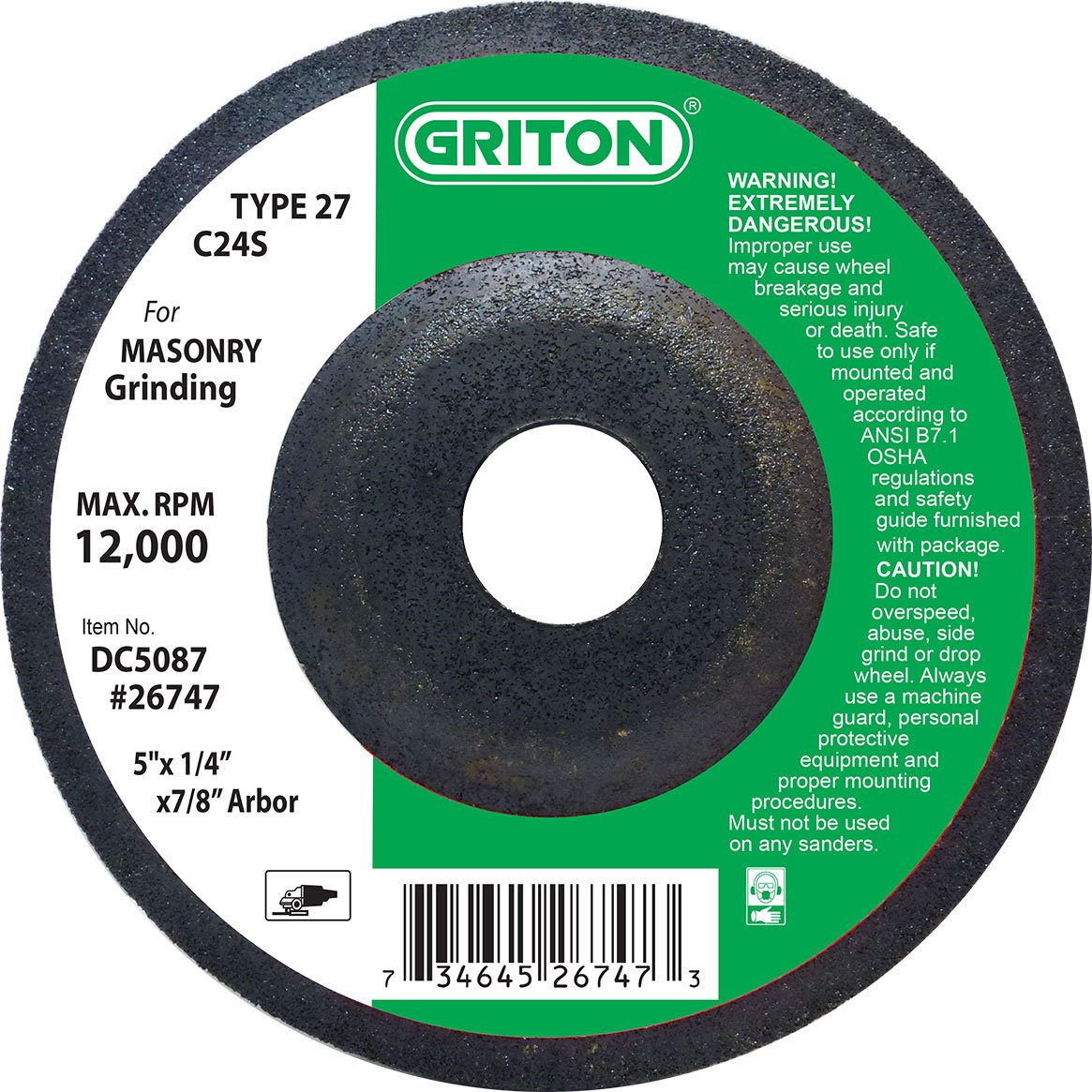 5 Diameter 5 Diameter Griton DC5087 Type 27 Grinding Wheel Used on Masonry Silicon Carbide Pack of 25 Pack of 25 12000 RPM