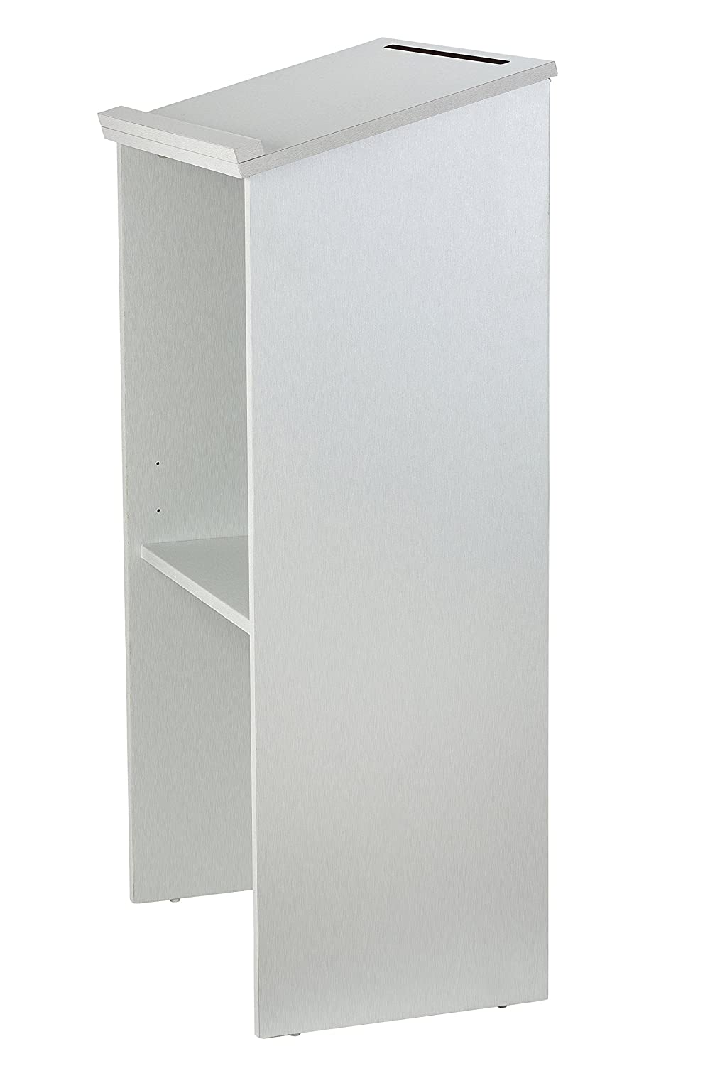 White Wood Lectern with Adjustable Shelf and Pen//Pencil Tray Floor-Standing Podium AdirOffice Stand up