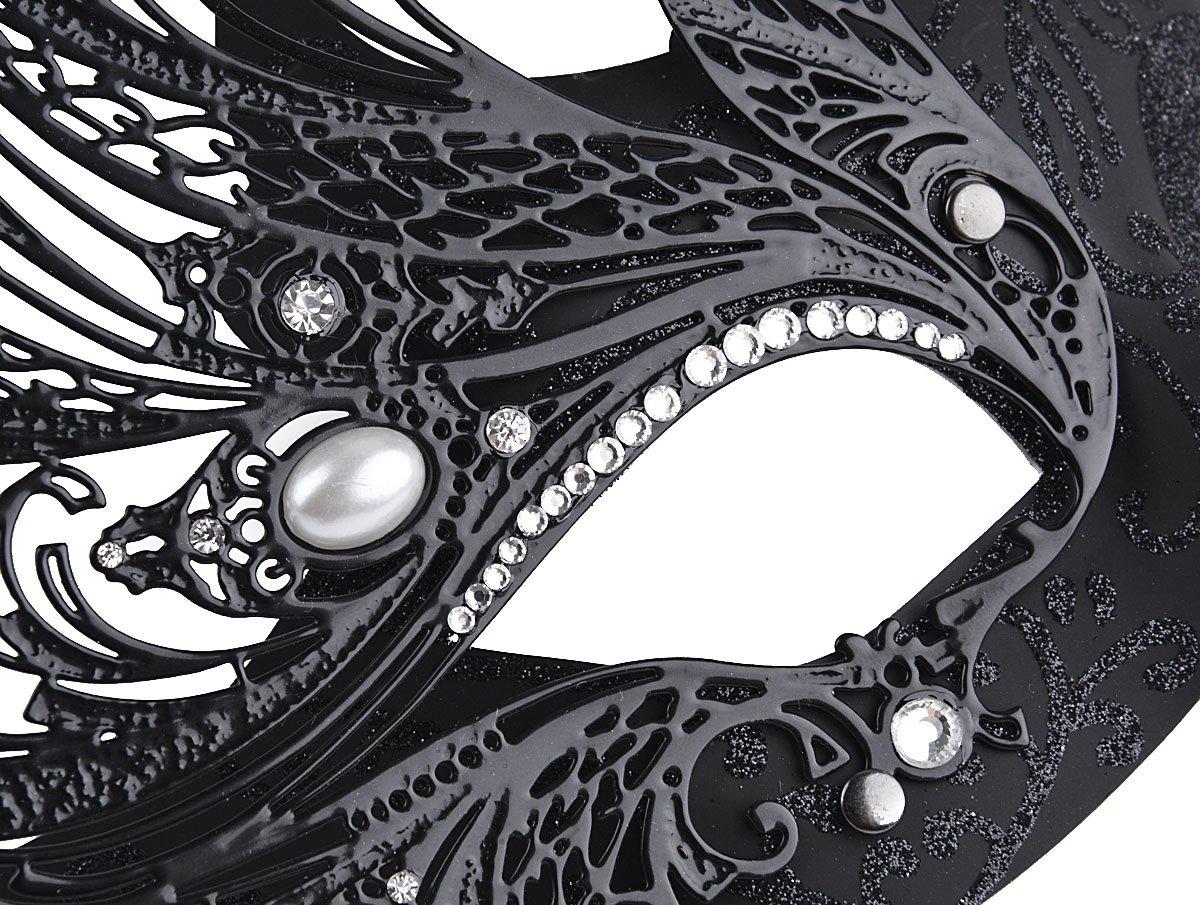 Coxeer-Womens-Masquerade-Mask-Swan-Halloween-Venetian-Mask-Metal-Filigree-Mask