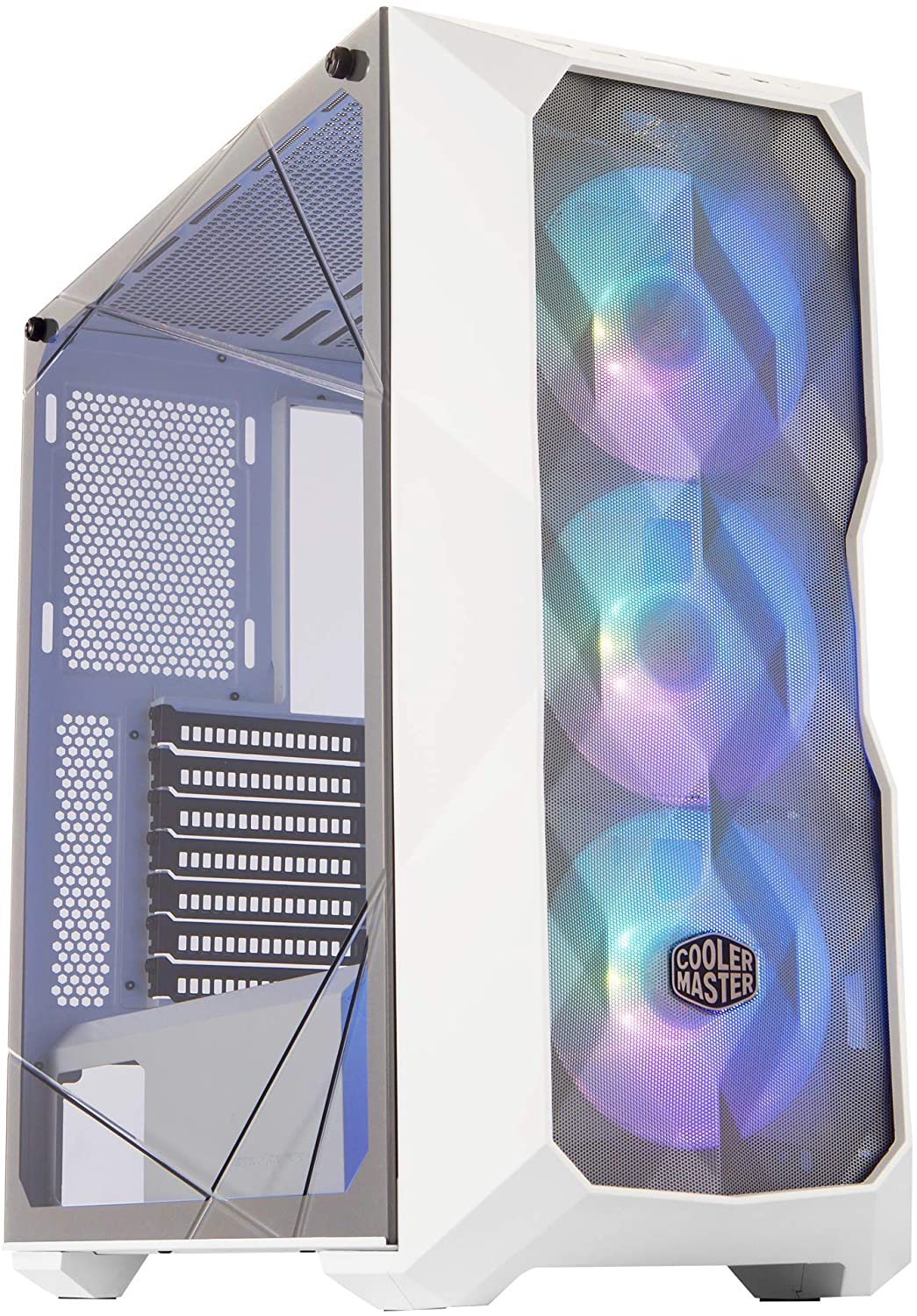 Cooler Master MasterBox TD500 Mesh White Airflow ATX Mid-Tower w/E-ATX Support, Polygonal Mesh Front Panel, Crystalline Tempered Glass & 3 ARGB Fans w/Controller