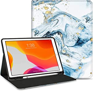 INSSISAIN Case for iPad 8th Generation 2020 /iPad 7th Generation 2019 10.2 Inch with Pencil Holder, Multi-Angle Viewing Stand Shell, PU Leather Protective Cover for 10.2