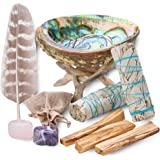 Home Cleansing & Smudging Kit with White Sage, Palo Santo, Abalone & Stand, Smudge Feather & Guide (Plus)