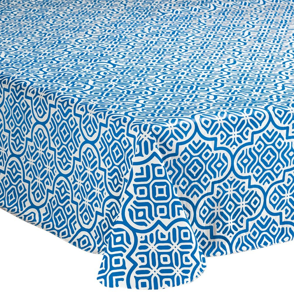 No-Stain Chlorine Free Mosaic Inspired Style PEVA Vinyl Table Cover - w/Polyester Flannel Backing, Resist Spill, Lightweight and Easy-to-clean (60'' x 84'' Oblong)