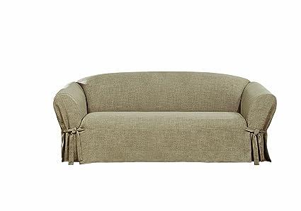 Amazon.com: Sure Fit Textured Linen Slipcover (Sand, Box Cushion ...