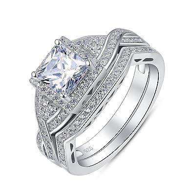 Amazon.com: Juego de 2 anillos de compromiso y boda, estilo ...