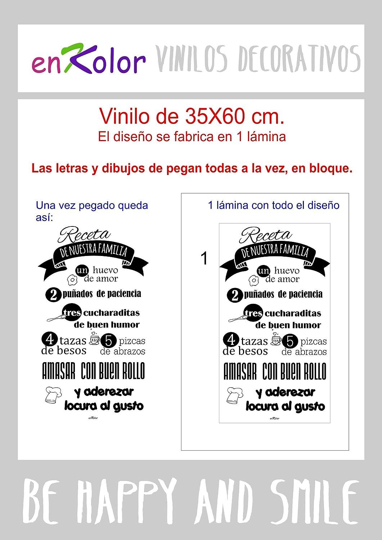 Enkolor/Vinilo cocina/Frases decorativas pared/Receta familiar/Negro/60X100cm: Amazon.es: Bricolaje y herramientas