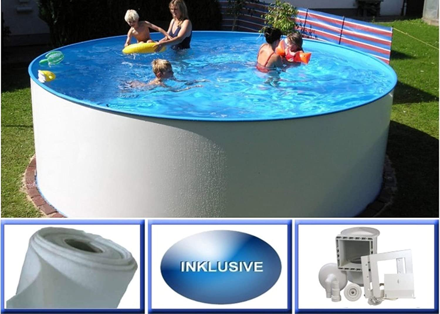 Summer Fun Miami Basic - Piscina Redonda de Pared de Acero (3 m de ...