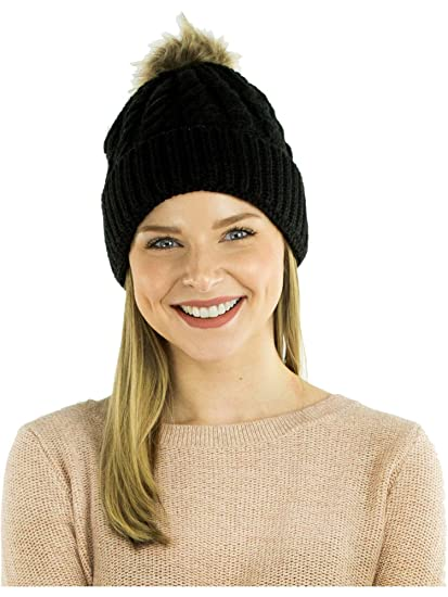 5a2d59ffa25 Amazon.com  Exotic Identity Pom Pom Hat Cable Knit Arctic Cold ...
