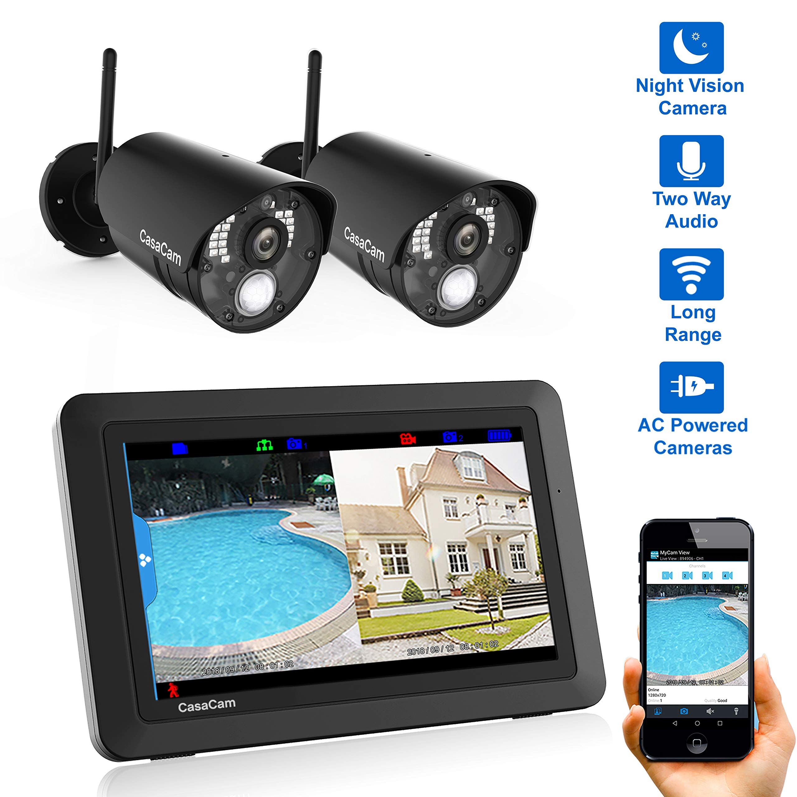 CasaCam VS802 Wireless Security Camera System with AC Powered HD Nightvision Cameras and 7'' Touchscreen Monitor (2-cam kit) by CasaCam