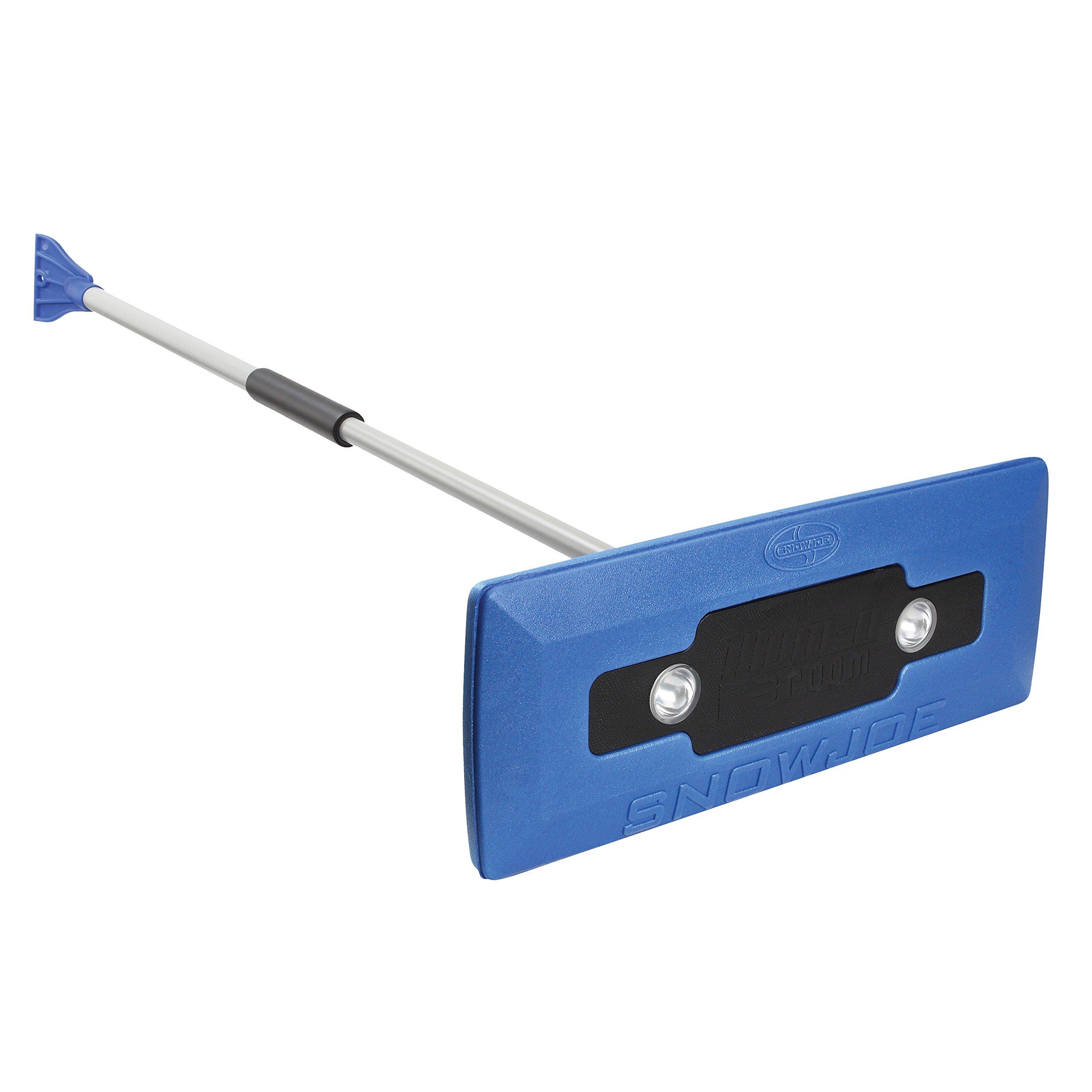 Snow Joe SJBLZD-LED 4-In-1 Telescoping Snow Broom + Ice Scraper | 18-Inch Foam Head | Headlights (Blue) by Snow Joe