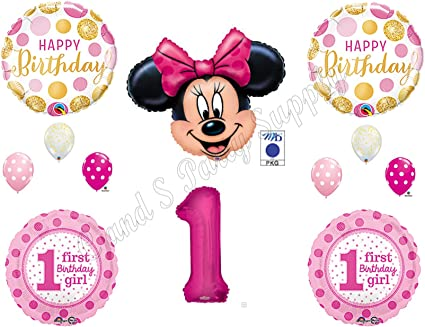 MINNIE MOUSE 1st Pink /& Gold Birthday Party Balloons Decoration Supplies First