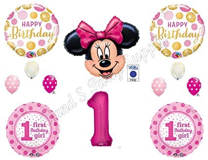 Amazon PINK GOLD Minnie Mouse 1st Birthday Party Balloons Decoration Supplies First Disney Everything Else