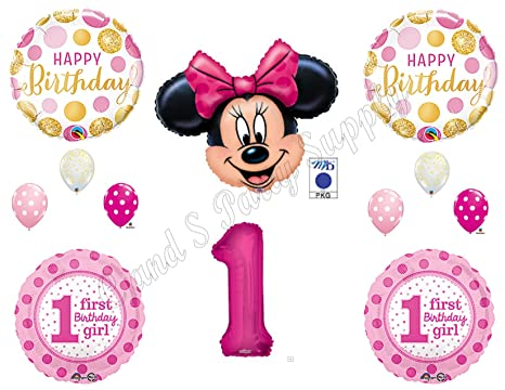 Amazon Com Pink Gold Minnie Mouse 1st Birthday Party Balloons
