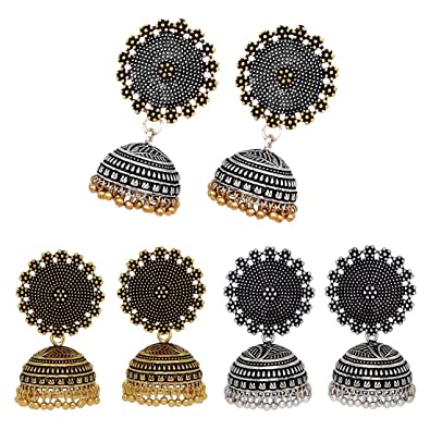 2defd6f2d V L IMPEX Oxidised Gold Plated & Silver Plated And Two Tone Jhumki Earrings  Combo For Womens