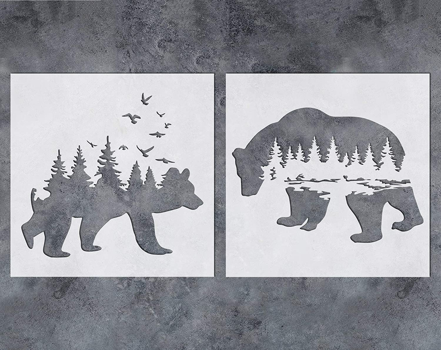 GSS Designs Mountain Forest Bear Stencil (2 Pack) - Reusable Stencil for Walls (12x12Inch) - Art Painting for Wall Canvas Furniture Cards Decor (SL-060)