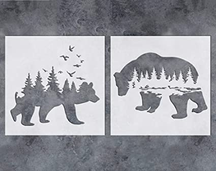 Amazon Com Gss Designs Mountain Forest Bear Stencil 2 Pack Reusable Stencil For Walls 12x12inch Art Painting For Wall Canvas Furniture Cards Decor Sl 060