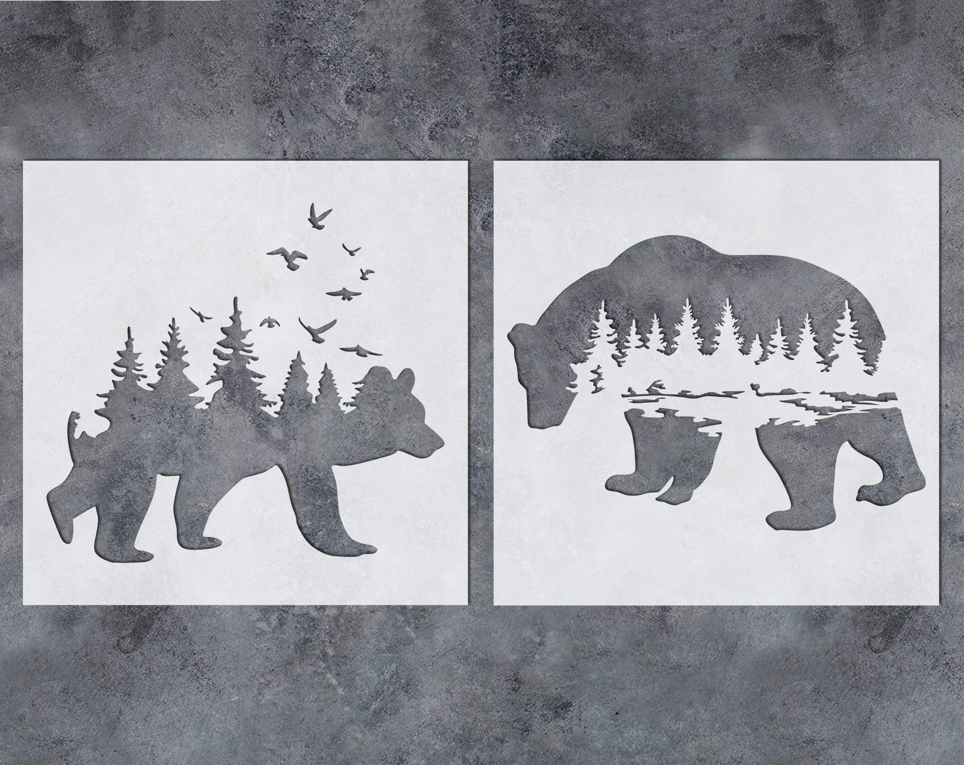 GSS Designs Mountain Forest Bear Stencil (2 Pack) - Reusable Stencil for Walls (12x12Inch) - Art Painting for Wall Canvas Furniture Cards Decor (SL-060) by G GSS Designs