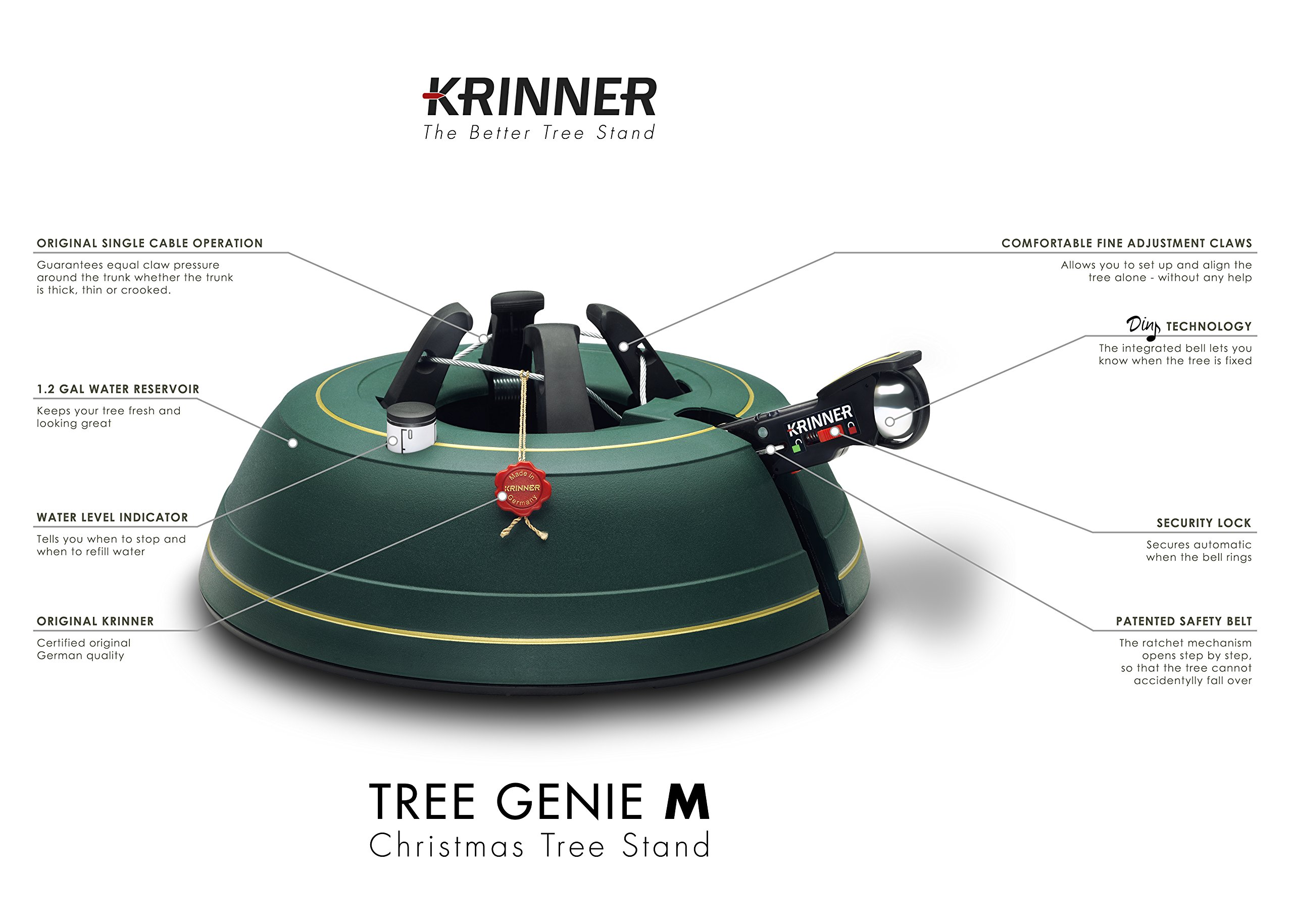Krinner Tree Genie M, Christmas Tree Stand with Foot Pedal and ...