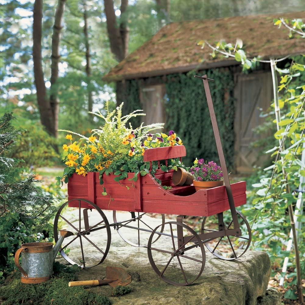 Rustic Green Wooden Amish Country Wagon Christmas Garden Planter Statue
