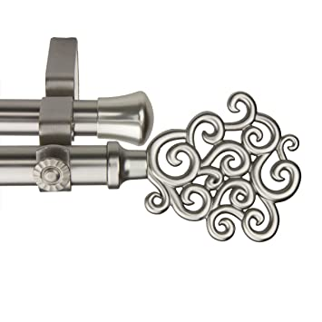 rod desyne tidal double curtain rod 66 to 120inch satin nickel